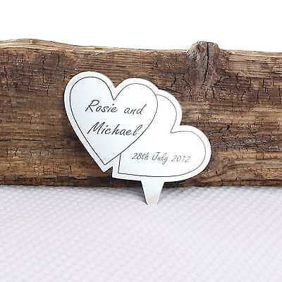 Personalised heart butterfly snowflake dove engraved mirror wedding cake topper