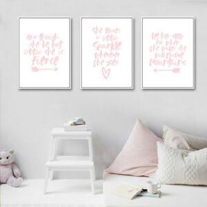 Details About Pink Wall Art Nursery Quote Poster Canvas Print Baby Bedroom Decoration
