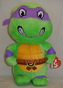 Teenage Mutant Ninja Turtles TY Beanie Babies SET of 4 Donatello, Leonardo+