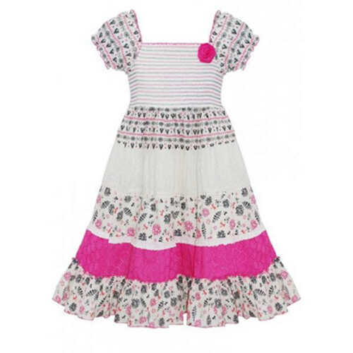 Girls Cotton Gypsy Dress Kids Pink Floral Summer Sun Dresses New Age 2-11 Years