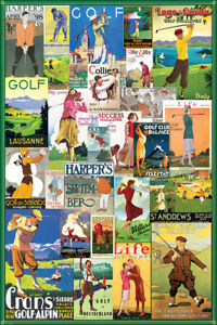 Vintage Art Deco Golf Around The World Travel Posters Collage Poster Ebay