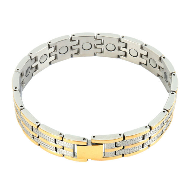 Mens Metal Magnetic Therapy Bracelet Arthritis Health Pain Relief New Bracelets