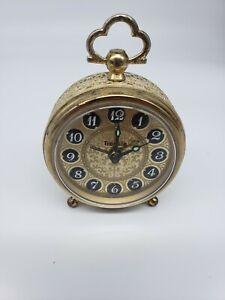 Vintage-Trenkle-West-Germany-Alarm-Clock-Wind-Up-Filigree-Sides-Not-working