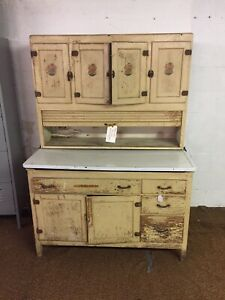 Vintage Painted Oak Double Wide 48 inch Kitchen Cabinet 2 Piece As Found