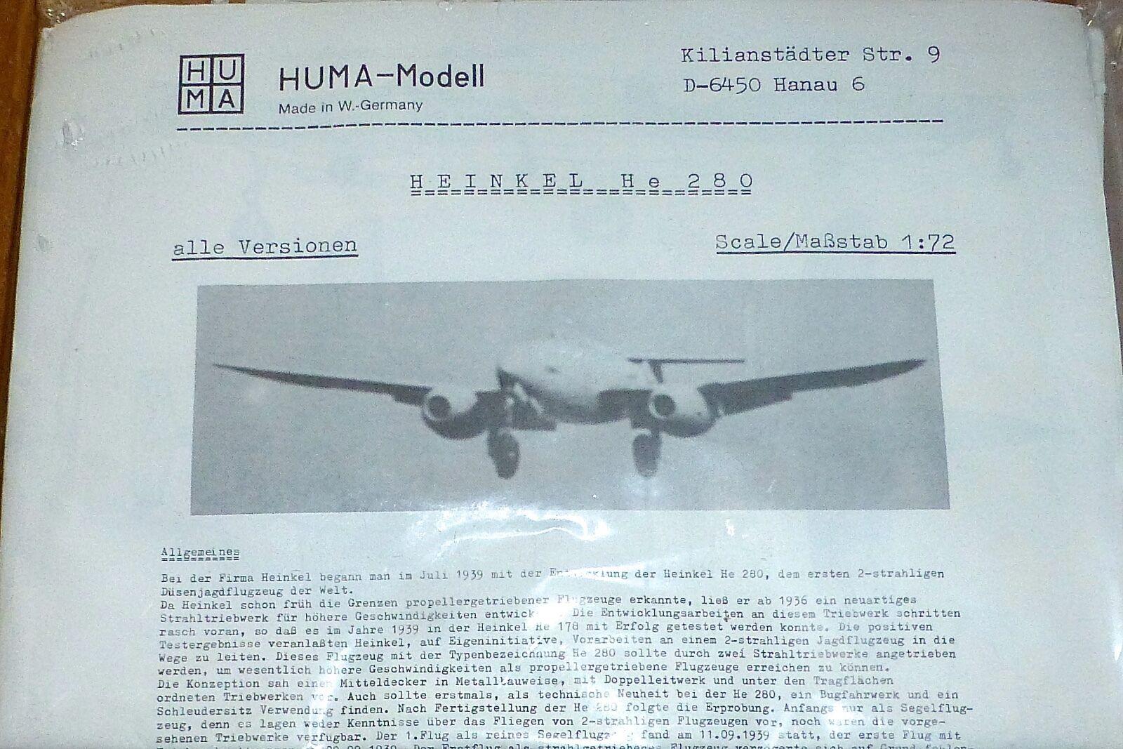 saldi Heinkel Lui Lui Lui 280 Huma modellolo 1 72 Aeroplano Kit di Costruzione Ricostruita Å  Ultimo 2018