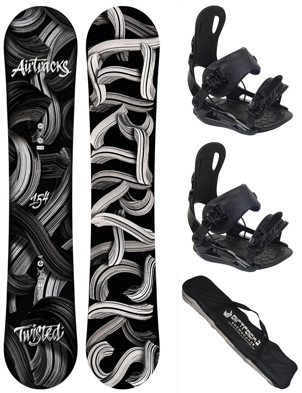 Snowboard Set AIRTRACKS Twisted Rocker+Bindung Star oder Master+Bag  150 154 158