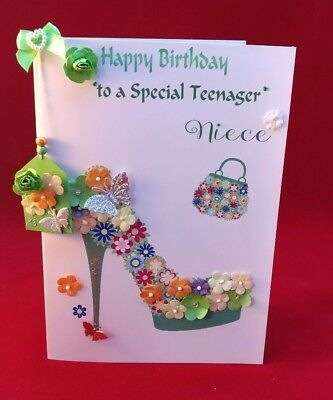 Hecho a mano Diamante-Zapato Florido, tarjeta de Cumpleaños Hermana Amigo Mamá///sobrina Etc