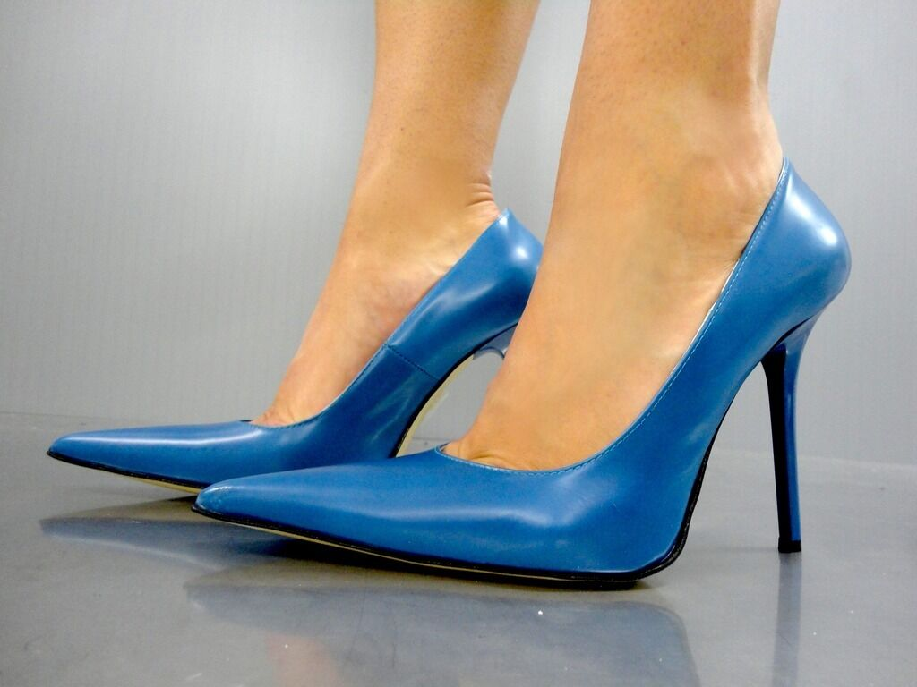MADE IN ITALY LUXUS HIGH HEELS POINTY PUMPS PUMPS PUMPS zapatos LEATHER DECOLTE azul azul 43  orden ahora disfrutar de gran descuento