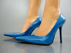 MADE IN ITALY LUXUS HIGH HEELS POINTY PUMPS SCHUHE LEATHER COURT SHOES BLUE 40 | eBay