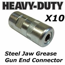 greasing connector 2 x Professional steel jaw heavy duty use grease gun ends