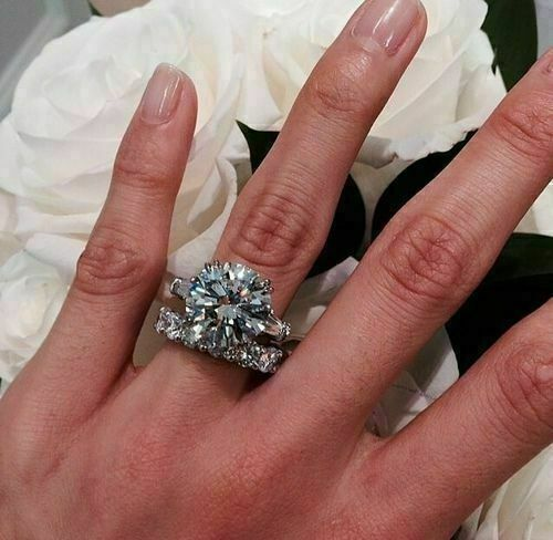 4.00 Ct Round Shape White Moissanite Engagement Ring Set 925 Sterling Silver