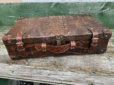 Redelijk Authentic Antique Alligator Suitcase Brass Lock Edwardian Era Raised Center Skin