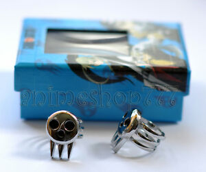 Soul-Eater-Death-The-Kid-Cosplay-Set-of-2-Ring-Silver-New-Free-Shipping