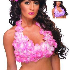 Hawaiian Halterneck Top Pink or Lilac Flower Luau Fancy Dress Party New
