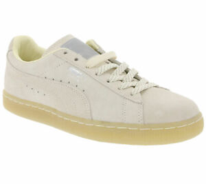 Puma-Echt-Leder-cortos-modernos-turn-zapatos-Suede-Classic-mono-ref-beige