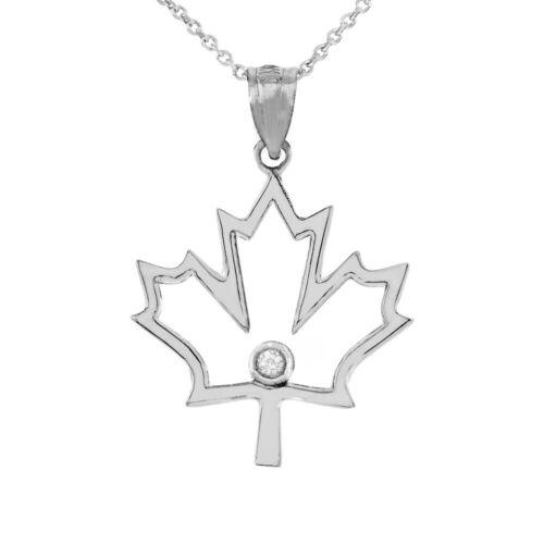 Sterling Silver CZ Canadian Maple Leaf Outline Openwork Pendant Necklace
