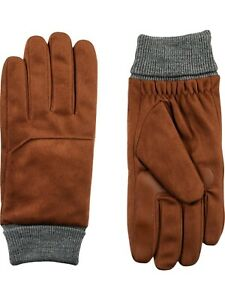 Isotoner Men's Smart DRI Microfiber Gloves with Smart Touch Technology Cognac M