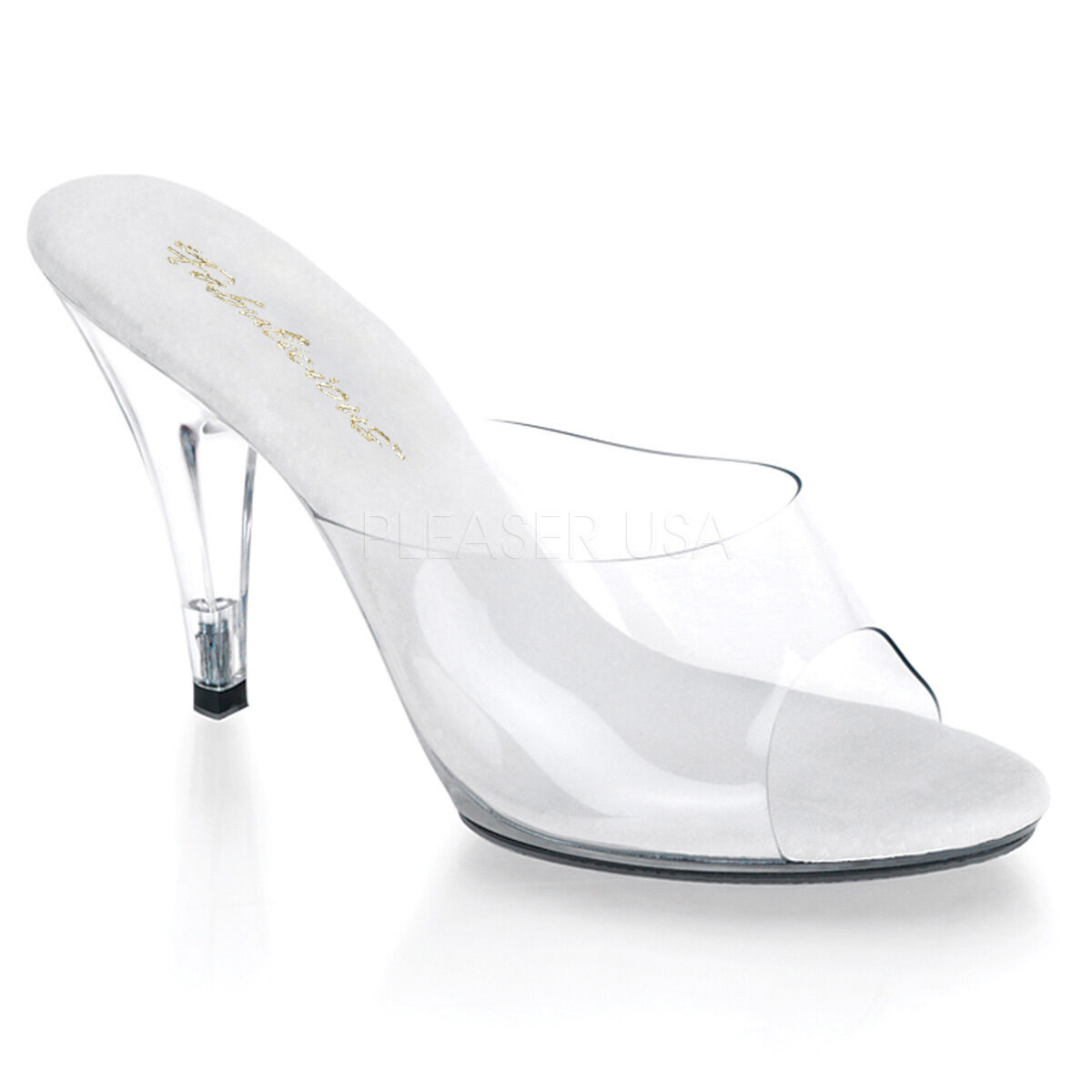 Fabulicious Caress-401 Clear Transparent Slippers Stiletto Heel Sandales