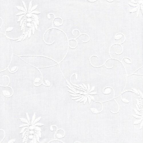 Embroidered Cotton Trailing Paisley Design 20 Fabric White