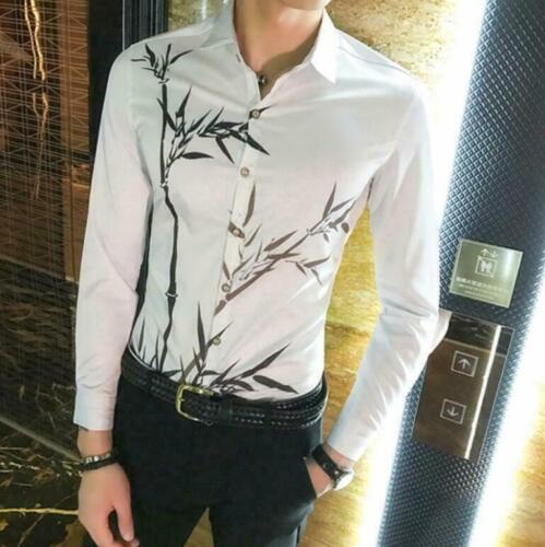 Men/'s Youth Bamboo Printed Casual Long Sleeves Floral Shirt Slim Fit Korean Top