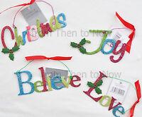 Gisela Graham Sentiments Glitter Christmas Tree Decoration Metal Sign Plaque