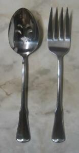 Patrick-Henry-PIERCED-SERVING-SPOON-amp-MEAT-FORK-Oneida-Community-Stainless