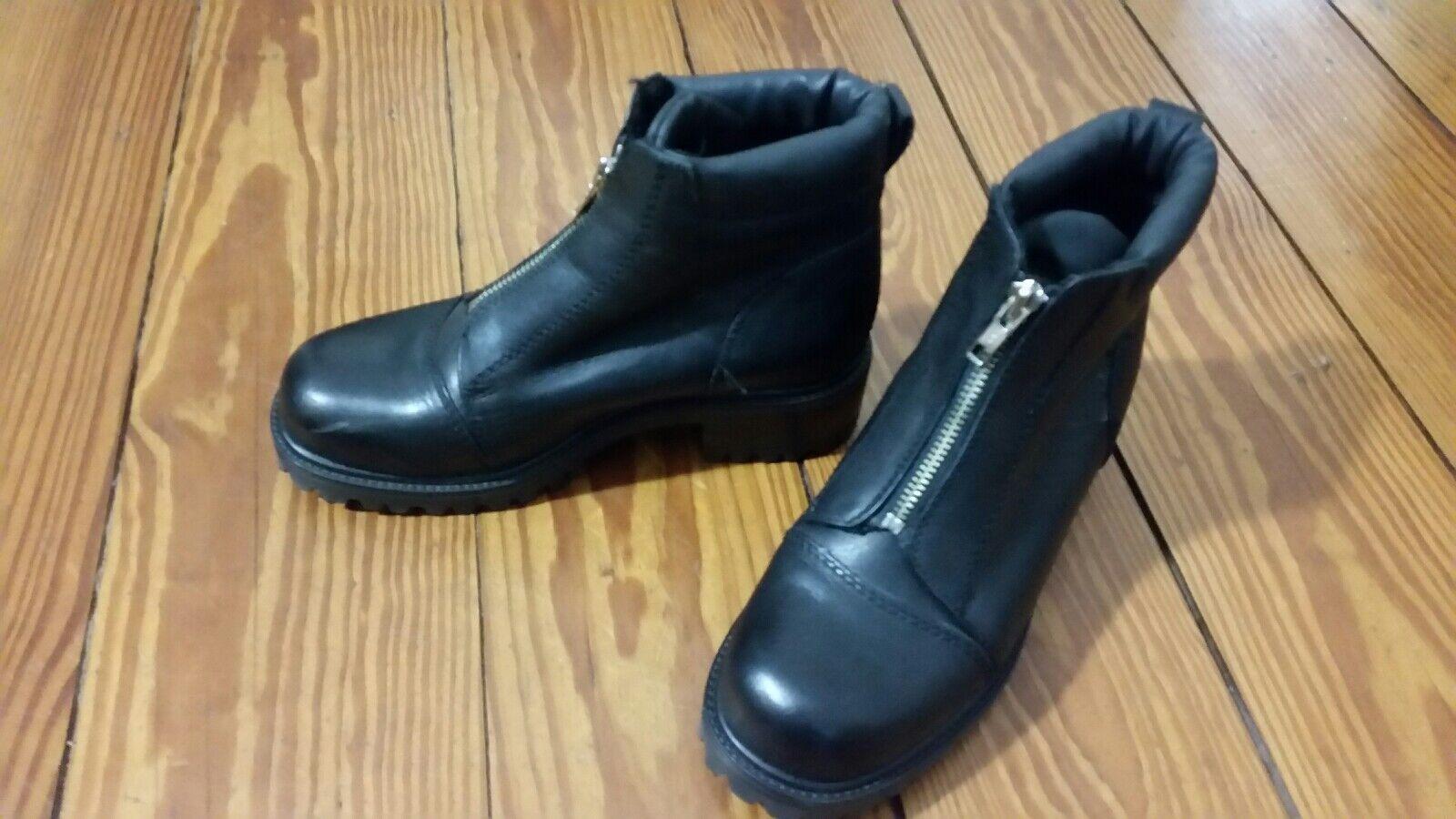Schuhe Stiefel 38 schwarz echt Leder made made made in italy Stiefeletten derbe Blockabsatz 6dfebd
