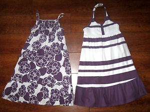 Lot-of-2-Kids-Girls-OLD-NAVY-Matching-Summer-Dresses-Purple-White-sz-18-24M