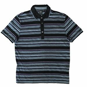 Hugo-Boss-Polo-Shirt-Regular-Fit-Mens-Size-Small-Striped-Casual-Golf-Button-Down