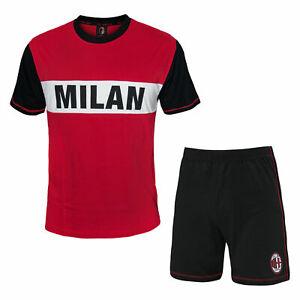 Pigiama-uomo-A-C-MILAN-14076-PRODOTTO-UFFICIALE-cotone-rosso