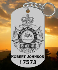 Australian Federal Police Engraved Steel Keychain Gift, Personalized FREE! AFP