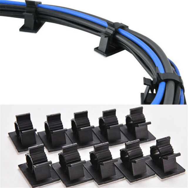10PCS Cable Clips Adhesive Cord Management Black Wire Holder Organizer Clamp New