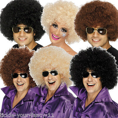 Men/'s 1960/'s 70/'s Black Funky Afro Wig Stag Fancy Dress Theme Bruno Mars Party
