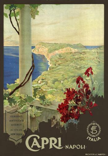 Ta65 Vintage Italia Capri Napoli Napoles Italia viajar cartel impresión A2 A3