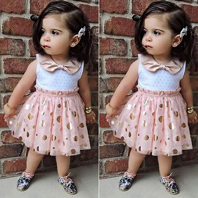Baby Girl Sequins Pink Tutu Kids Princess Party Casual Tulle Dress Sundress 1-6Y