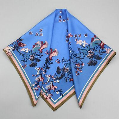 100/% PURE SILK 65CM Women Square Scarf Head Neck Hair Wrap Blue Floral Bandana