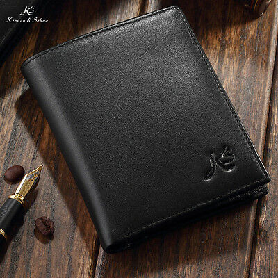 KS Mens Black Fashion Genuine Leather Money Wallet Bifold ID Card Holder Purse