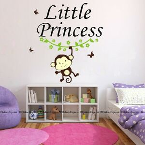 Image Is Loading Little Princess Monkey Cute Cinderella Baby Quote Nursery