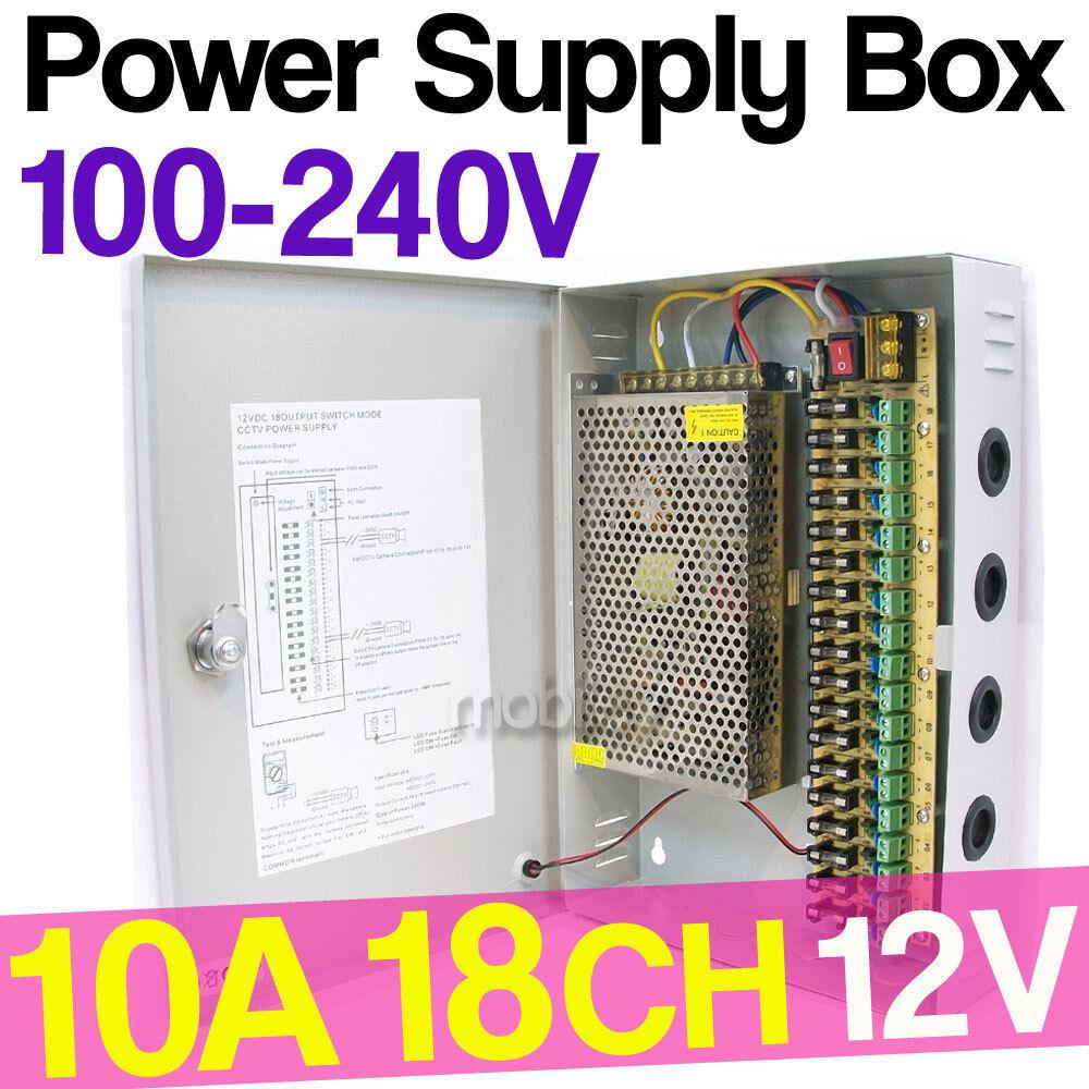 18 Anschlüsse CH DVR Netzteil Box DC 12V 10A für Sicherheit CCTV Kamera