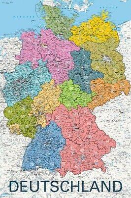 Poster Deutschland Politisch 2011 Landkarte Mit Plz Gebieten 61 X