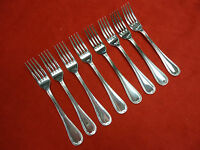 8 Sheffield Silverplate French Leaf Regular Size Forks With Design Edge