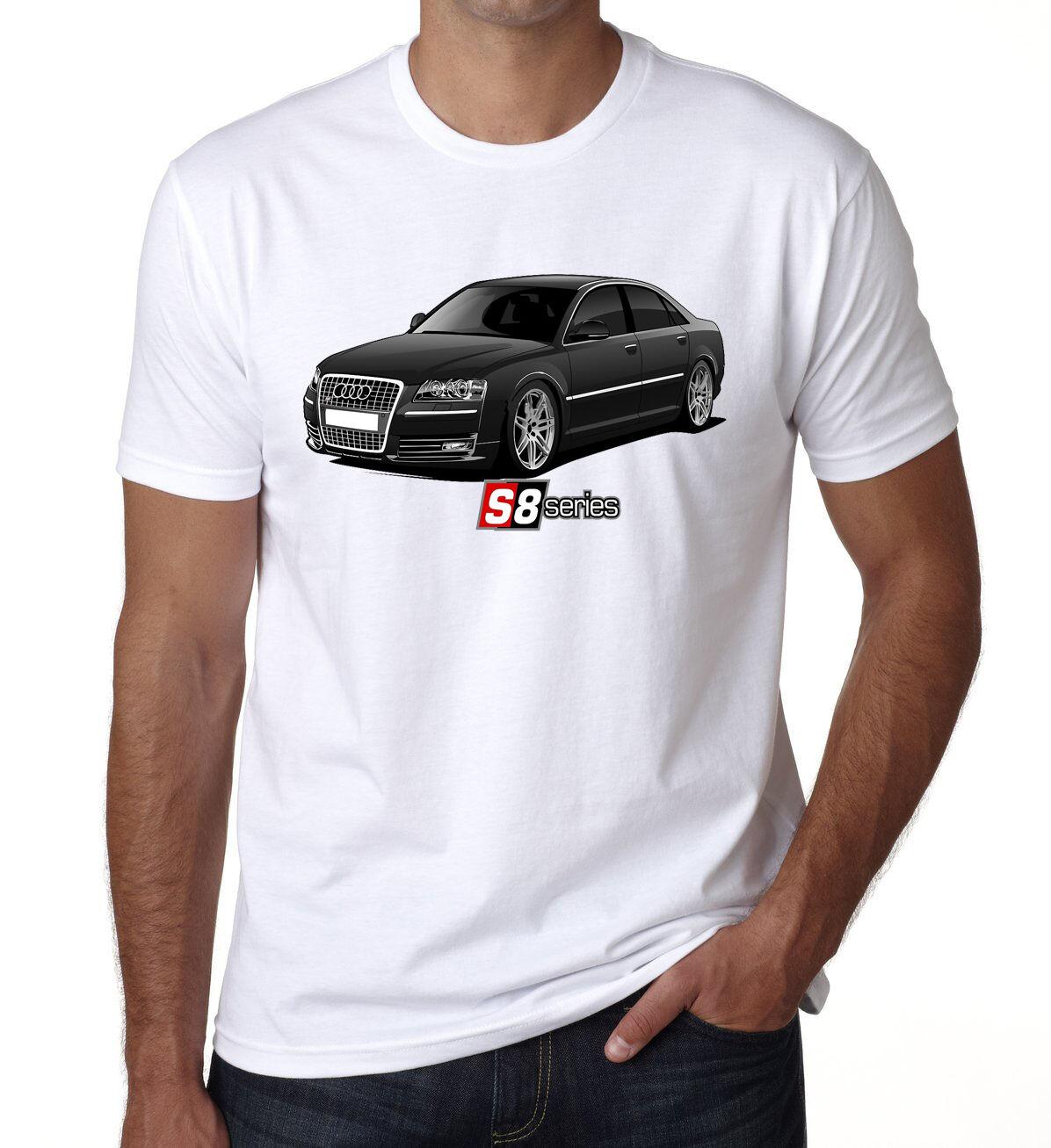 Audi S8 série Homme Shirt Enfants T Shirt Homme Noir Beauté rapide Voiture Blanc DT 222671