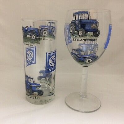 FORDSON  TRACTOR  DESIGNS ON LARGE TALL TAPERED GIN GLASS
