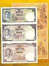 Thailand Uncut 1,5,10 Baht (2007) P117 King RAMA IX 80' Birthday Folder - UNC
