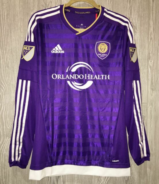 new style a7540 79f71 ADIDAS MLS Orlando City SC Authentic Purple Home L/S Soccer Jersey Mens S M  L XL