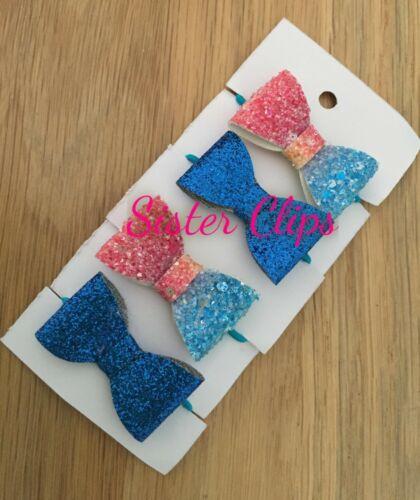 Girls Handmade 4 baby//toddler small blue /& rainbow Glitter Hair Bow bobbles
