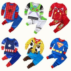 Avenger-Kids-Pajamas-Baby-Boys-Clothes-Girl-Sleepwear-Children-Spiderman-Sets