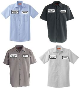 12 Work Uniform Shirts CUSTOM Print Your Company Name Logo Patches ...