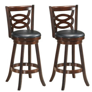 Stupendous Details About Set Of 2 Bar Stools 29 Height Wooden Swivel Backed Dining Chair Home Kitchen Caraccident5 Cool Chair Designs And Ideas Caraccident5Info