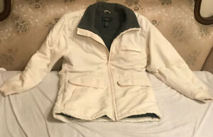 Men-s-J-Crew-Olive-Ivory-White-Coat-Jacket-Fleece-Lining-Size-Small-Waterproof